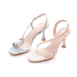 Love Girl 時尚閃亮斜細帶併接繞踝細高跟涼鞋