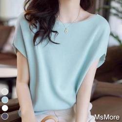 【MsMore】時尚百搭純色冰絲針織寬鬆上衣#j109125現貨+預購(3色)