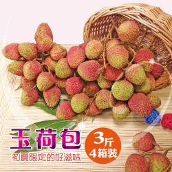 【坤田水果】大樹玉荷包荔枝禮盒(單箱3斤)*4箱