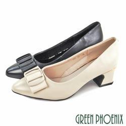 GREEN PHOENIX 韓國進口典雅蝴蝶結全真皮粗中跟尖頭包鞋/通勤鞋/面試鞋/上班鞋U11-21093