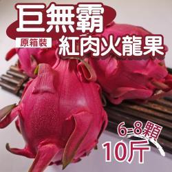 【坤田水果】『巨無霸』紅肉火龍果 (單箱10斤6-8顆)*2箱