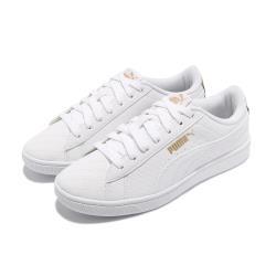 Puma 休閒鞋 Vikky v2 Sig 復古 女鞋 金標 滿版logo 基本款 穿搭 白 金 37322601 [ACS 跨運動]