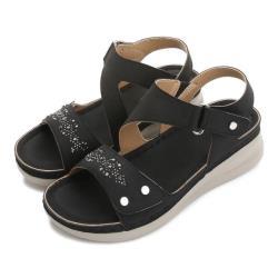 【Taroko】悠閒漫步水鑽魔鬼氈涼鞋(4色可選)