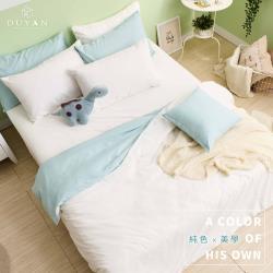 DUYAN竹漾-天絲絨雙人加大床包被套四件組-優雅白床包+白綠被套