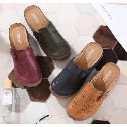 【Taroko】柔軟舒適雕花鏤空厚底包頭涼鞋(4色可選)