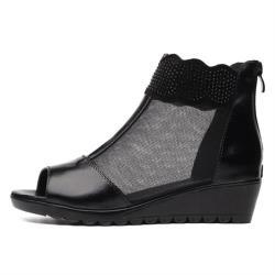 【Taroko】性感波浪透氣網面鏤空魚嘴厚底涼鞋(黑色)