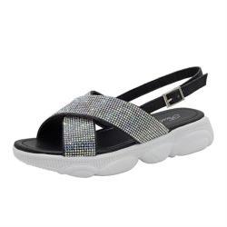 【Taroko】水鑽交叉亮銀夏季平底時尚涼鞋(3色可選)