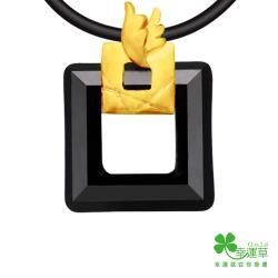 幸運草 愛的頻率 純金+水晶墜飾(男) (預購)