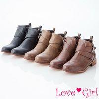 ☆Love Girl☆明星單品交叉扣環工程短靴
