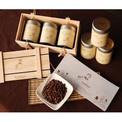 古坑【山海觀咖啡莊園】精品咖啡豆150gx3罐(含木質禮盒)兩組