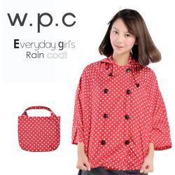 w.p.c.斗篷雙排釦 時尚雨衣/風衣(R1018)-亮紅
