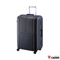 《Traveler Station》CROWN 皇冠 29吋極輕炫彩鋁框拉桿箱-黑底深藍框