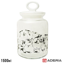 【ADERIA】日本進口拉環圖騰玻璃罐1500ml