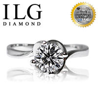 ILG鑽-頂級八心八箭擬真鑽石戒指-綻放摯愛款 主鑽約75分-RI016 螺旋獨特造型戒台