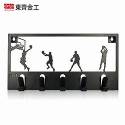 【OPUS東齊金工】歐式鐵藝灌籃高手造型壁飾掛勾 hoba08