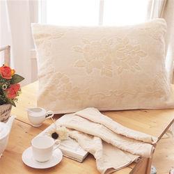 HO KANG 繽紛純棉枕巾-卡其 2入