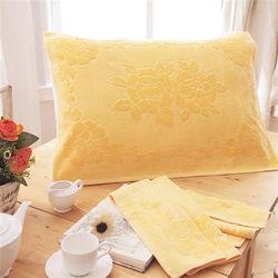 HO KANG 繽紛純棉枕巾-鵝黃 2入
