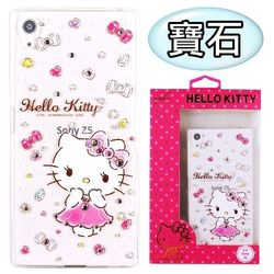 【Hello Kitty】SONY Xperia Z5 (5.2吋) 彩鑽透明保護軟套-寶石