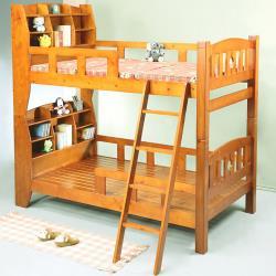 BuyJM 歐尼爾3.5呎單人加大書架型實木雙層床