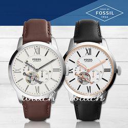 【FOSSIL】簡約時尚_三眼計時低調_皮革機械男錶(ME3064/ME3104)