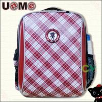 【UnMe】單層格紋後背書包(紅菱色)
