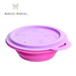 【MARCUS&MARCUS】動物樂園矽膠摺疊碗-鯨魚(紫碗蓋/桃紅碗)-行動