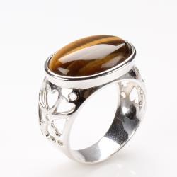 【寶石方塊】敬業樂群天然黃金虎眼石戒指