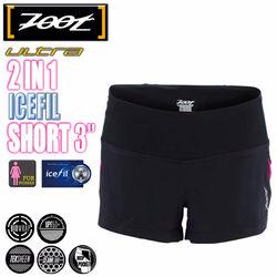 ZOOT【頂級冰涼感】二合一肌能跑褲-黑/桃紅(女)