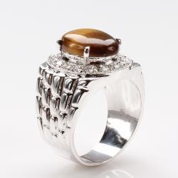 【寶石方塊】厚植根基天然黃金虎眼石戒指