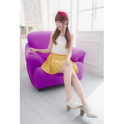 Osun-一體成型防蹣彈性沙發套/沙發罩_2人座 素色款 薰衣紫