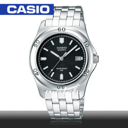 【CASIO 卡西歐】簡單時尚_不鏽鋼黑面男錶(MTP-1213A)