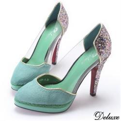 【Deluxe】古典綠優雅氣質高跟鞋(綠)-8112-7