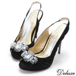 【Deluxe】閃耀水晶寶石麂皮魚口高跟鞋(黑)-97012-28