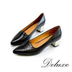 【Deluxe】千格紋水晶跟尖頭低跟鞋(黑)-13421-8A