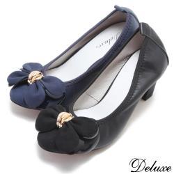 【Deluxe】點金蝴蝶花瓣包頭高跟鞋(黑.藍)-0389-55