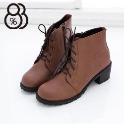 【88%】帥氣艾薇兒又率性素色側拉鍊素面牛津粗低跟綁帶短筒靴 2色