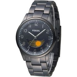 FOSSIL 月相視窗擎梭時尚腕錶-IP黑(FS4849)