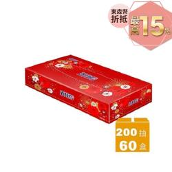 五月花 日式扁盒面紙 煙火版200抽x60盒/箱