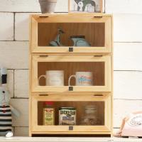 CiS自然行實木家具 三門-咖啡櫥櫃-收納櫃(水洗白色)