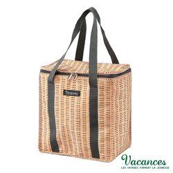 【日本 VACANCES】戶外郊遊 田園竹編風 棕色 保溫 保冷(露營輕巧 手提野餐袋)
