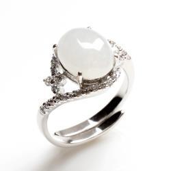 【寶石方塊】眉清目秀天然4克拉冰糯種白翡翠戒指-活圍設計