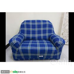 Osun-一體成型防蹣彈性沙發套/沙發罩_1人座 圖騰款 深藍格紋