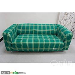Osun-一體成型防蹣彈性沙發套/沙發罩_3人座 圖騰款 綠色格紋