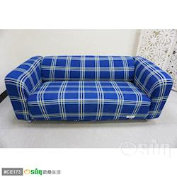 Osun-一體成型防蹣彈性沙發套/沙發罩_3人座 圖騰款 深藍格紋