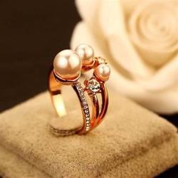 【米蘭精品】玫瑰金戒指鑲鑽銀飾經典高貴奢華流行73by1