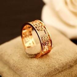 【米蘭精品】玫瑰金戒指鑲鑽銀飾經典字母高貴時尚73by3