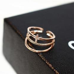 【米蘭精品】玫瑰金戒指鑲鑽銀飾時尚小十字架設計73by10