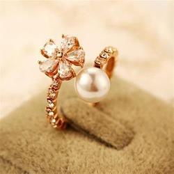 【米蘭精品】玫瑰金戒指鑲鑽銀飾時尚滿鑽花朵造型73by13