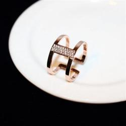 【米蘭精品】玫瑰金戒指鑲鑽銀飾簡約潮流氣質個性73by17