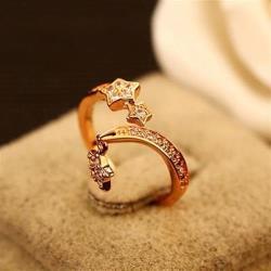 【米蘭精品】玫瑰金戒指鑲鑽銀飾銀飾時尚經典大方簡約73by21
